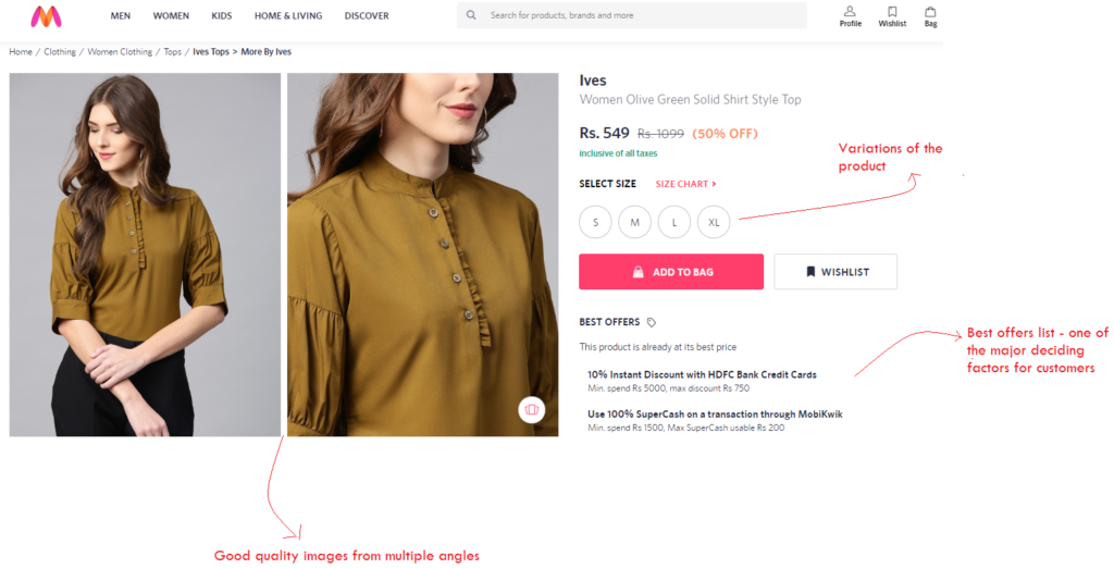 Myntra - importance of a product page