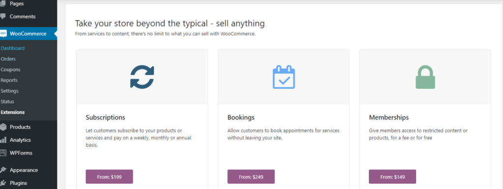 Extensions - start a woocommerce website