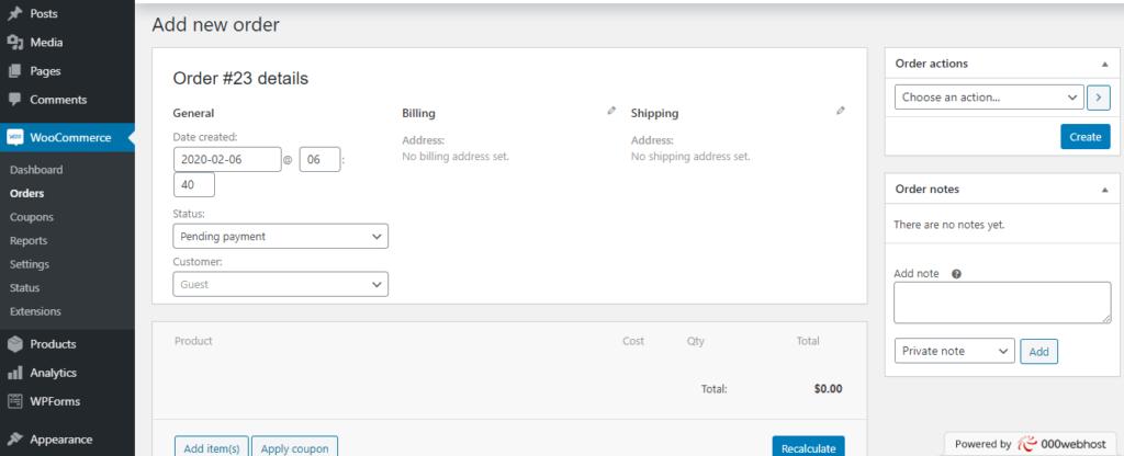 order - start a woocommerce website