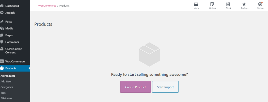 Product - start a woocommerce website