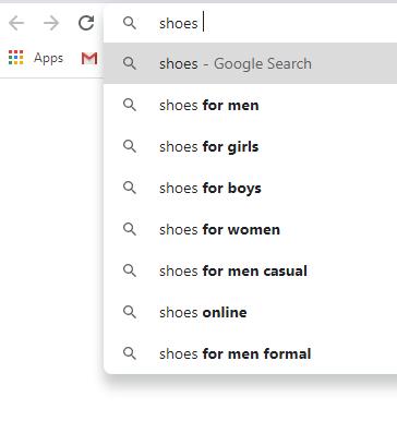 Google suggestions - E-commerce Store Optimization