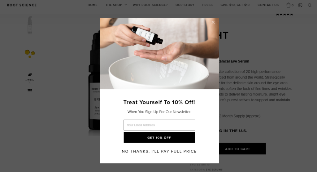 deal popup - product page optimization