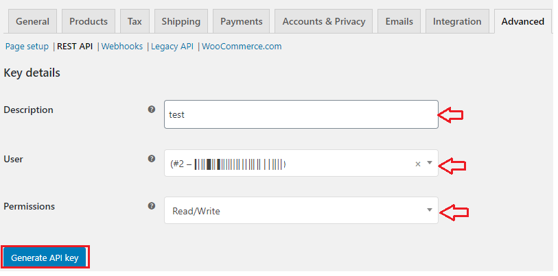Generating WooCommerce REST API